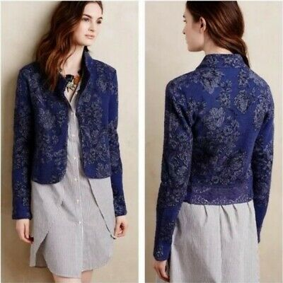 $ CDN19.90 • Buy Anthropologie Knitted & Knotted Blue Floral Crop Blazer Size XS