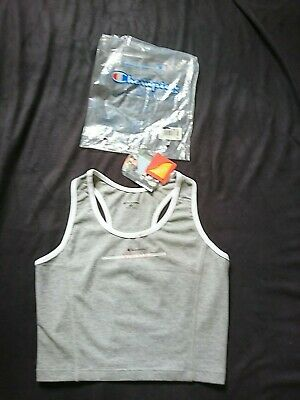 Y2k/oo's Champion Grey&white Womens Cropped Vest Top Racer Back Size M Bnwt • 14.99£