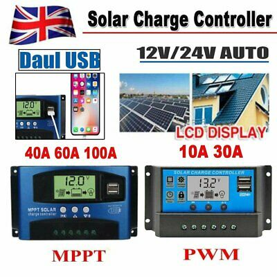 30/40/60/100A MPPT PWM Solar Charge Controller Panel Battery Regulator Dual USB • 20.99£