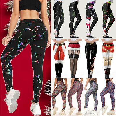 Womens Christmas Leggings Sports Yoga Pants Xmas Party Stretchy Fitness Trousers • 10.99£