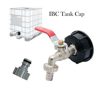 IBC Tank Adapter S60X6 To Brass Garden Tap With 1/2  Hose Fitting Oil Fuel Water • 10.79£