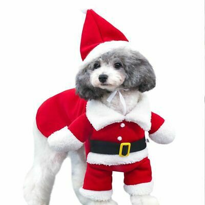 Pet Cat Santa Costume Dog Christmas Xmas Small Coat Outfit Clothes Hoodie Jumper • 6.70£