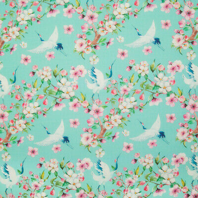 100% Cotton Fabric LITTLE JOHNNY JAPANESE CHERRY BLOSSOM CRANE Floral Material • 10.99£