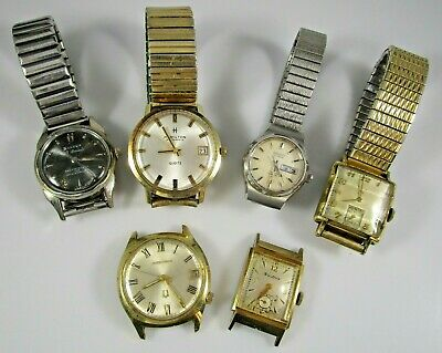 $ CDN15.03 • Buy Wristwatch Lot Of 6 Vintage Gold Filled Stainless Elgin Bulova Seiko Parts Only