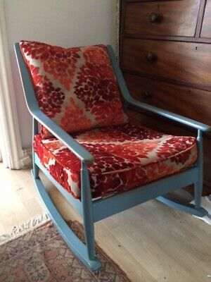 Rocking Chair Mid Century With Designers Guild Fabric Cushions. • 100£