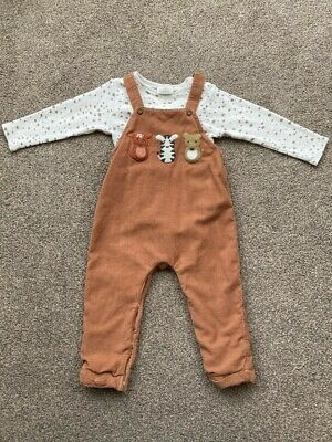 NEXT 12-18 Months Boys Woodland Cord Dungarees And Vest - Excellent Condition • 2.70£