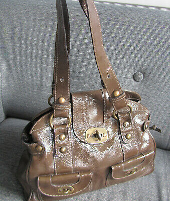 Khaki Brown Patent LEATHER Large RUSSELL & BROMLEY Shoulder Bag, Great For Autum • 15.99£