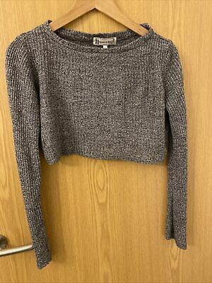 Hearts And Bows Grey Cropped Thin Jumper 6 • 1.99£