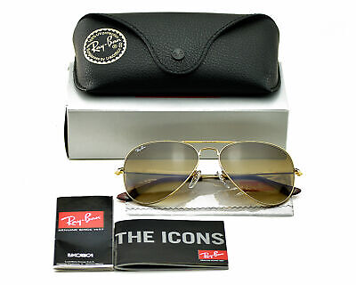AU134.55 • Buy Ray Ban RB 3025 Aviator Sunglasses 001/51 Gold Frame Brown Gradient Lens 58mm