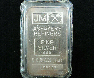 $ CDN279.95 • Buy 5 Troy Oz JM Silver Bar Johnson Matthey 999 Fine Silver 028453 Blank Reverse