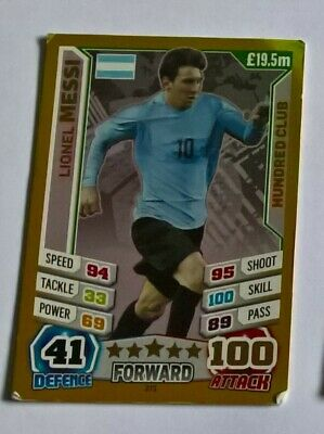 Match Attax  World  Cup 2014  Lionel Messi Hundred Club Card • 0.99£