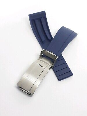 Blue  Rubber 20mm Strap Silver Brushed Deployment Clasp For Rolex Watches  • 26.50£