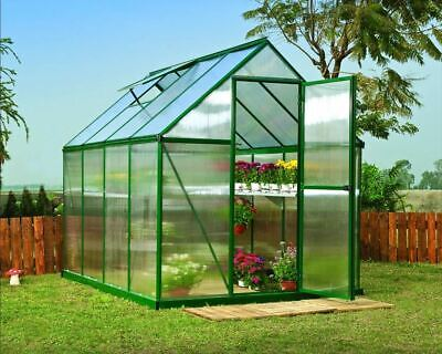 GSD  Greenhouse Aluminium Polycarbonate With Steel Base Free Delivery 3 Sizes • 399.95£