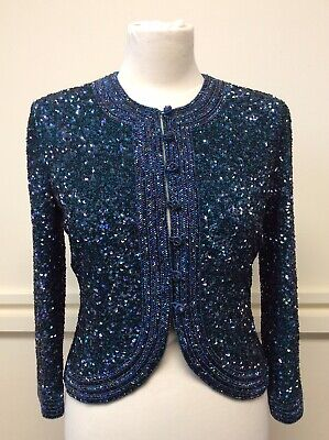 Caroline Charles Sequined Silk Blue Occasion Jacket Size 10 KN • 39.99£