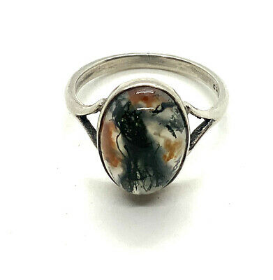 Antique Art Deco Sterling Silver Moss Agate Ring #37 • 10.50£
