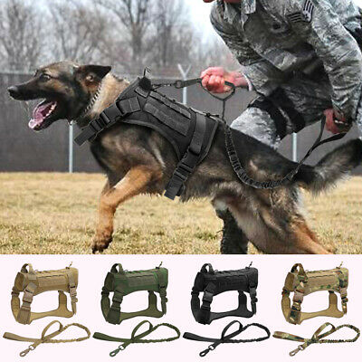 £20.69 • Buy Large Tactical Dog Harness With Bungee Lead No Pull Military Training Vest K9