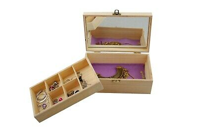 Jewellery Storage Box Mirror Necklace Wooden Ear Ring Drawer Make Up Chest  • 5.95£