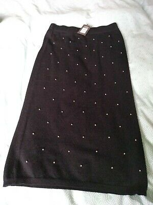 Knit Midi Skirt Black With Silver Pearl Beads Detail PRIMARK BNWT XS Fits 8 L 29 • 3.99£