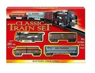 £8.97 • Buy Classic Battery Operated Train Set With Tracks Light Engine Children Kids Toy