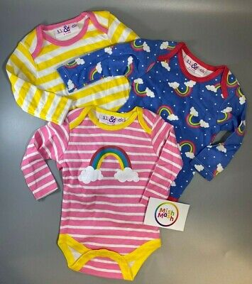 NEW 3 Baby Girls Pink Rainbow Cute Pretty Long Sleeve Vests Bodysuits Rompers • 5.49£