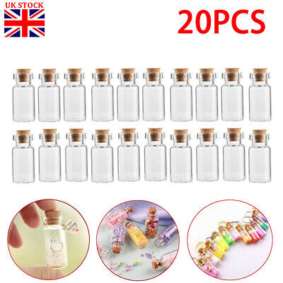 20x Small Clear Glass Cork Lid Bottles Jars Party Sweets Wedding Table Favours • 6.99£