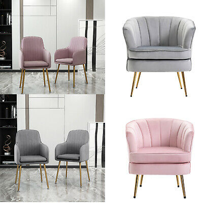 Crushed Velvet Shell Scallop Accent Occasional Chair Armchair Dining Furniture • 109.99£