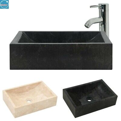 Marble Sink Rectangular Hand Wash Basin Flat Top Bathroom Natural River Stone • 73.49£