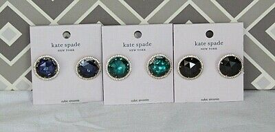 $ CDN57.39 • Buy NEW Kate Spade SHE HAS SPARK Round Stud Earrings LOT Of 3 In Blue Black Green