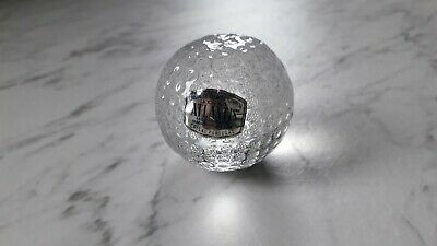 Atlantis Crystal Glass Golf Ball Shaped Paperweight - Signed & Stickered • 5£