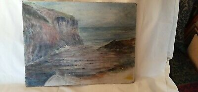 Original Vintage Painting Sea And Clifts Mirian Hargreaves • 5£