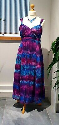 Elegant Per Una Long Dress Fully Lined Size 14r Blue Purple Grecian Empire Line  • 4.99£