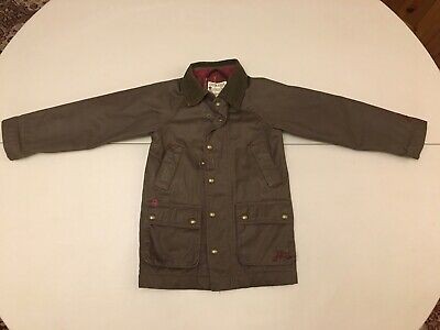 Boys Tom Joules Olive Wax Jacket Coat Age 4 Lined Zip And Popper Fastenings • 11.99£
