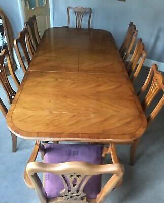 Yew Extendable Dining Table And 8 Chairs • 250£