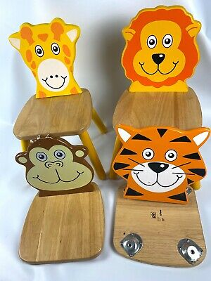 4 X Pin Toy By John Crane Wooden Animal Chairs For Children • 2.20£