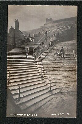 Old Church Step Whitby J T Ross Photographer 1900's ? Postcard ~ LOVELY IMAGE • 5£
