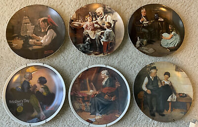 """$ CDN44.10 • Buy NORMAN ROCKWELL PLATES (LOT Of 6) KNOWLES FINE CHINA 1977-81 8.5"""" FIRST EDITIONS"""