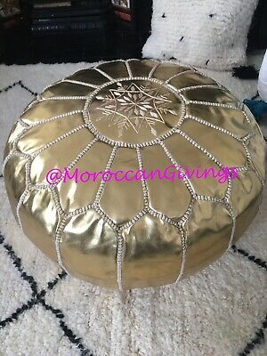Moroccan Handmade Faux Leather Pouffe Gold With White Embroidery • 57£