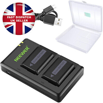 Neewer NP-FW50 Camera Battery Charger Set With Case For Sony 1100mAh 2 Batteries • 25.99£