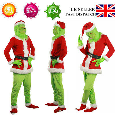 20 Adult Costume The Grinch Mens Christmas Santa Xmas Cosplay Fancy Outfit Set • 25.79£
