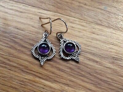 STERLING SILVER AMETHYST DROP EARRINGS. 925 Hallmark. Brand New • 11.95£