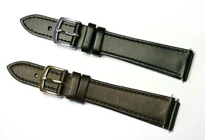 £5.99 • Buy 19mm Genuine Leather Watch Strap By Apollo Black Or Brown Gold Or Silver Buckle