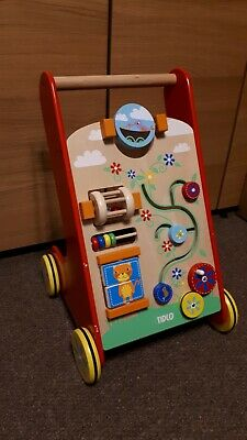 Tidlo Wooden Activity Walker Push Along Toy For Toddlers Learning Aid • 25£