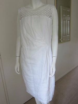 Size 14 Monsoon New White Linen Crochet Day Evening Fitted Occasion Dress £59 • 20£