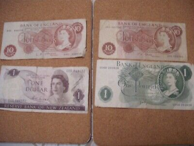 Old English Ten Shilling Notes,one Pound Note. New Zealand Dollar • 12£