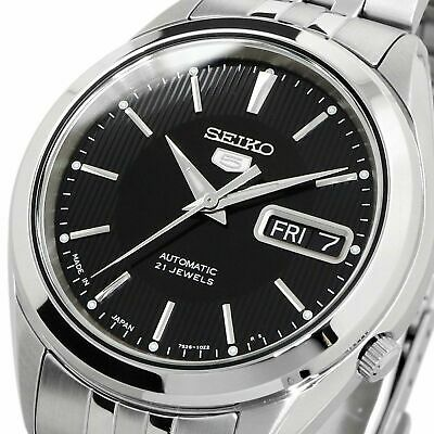 $ CDN129.74 • Buy SEIKO 5 SNKL23J1 SNKL23 Automatic 21 Jewels Black Dial Stainless Steel Men Watch