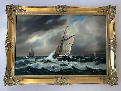 Large Ornate Gold Frame Signed A B Caldsley Sea Ocean Ship Oil Painting Picture • 44.99£