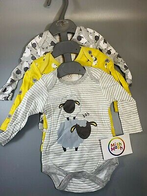 NEW Baby Unisex 3 Pack Grey Sheep Animal Long Sleeve Vests Bodysuits Christmas • 6.95£