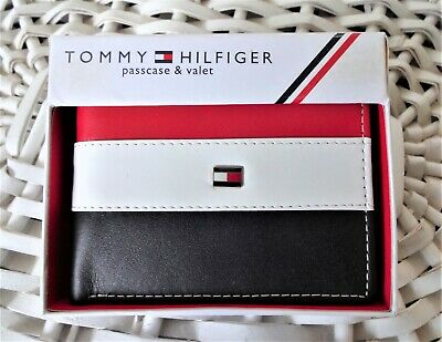 Men's Leather Wallet 'Tommy Hilfiger' Bifold, BLACK,WHITE&RED,Coin Pouch,MRP $60 • 20.99£