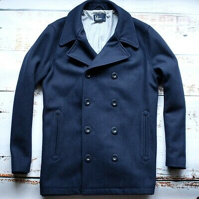 Fred Perry J1297 Double Breasted Pea Coat Size. XL || Football Casuals Terrace • 1£