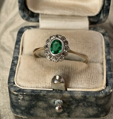 Art Deco Paste Emerald, Paste Diamond Ring, 9ct Yellow Gold And Silver Quartz Q • 139£